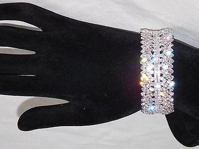 Clear Crystal Rhinestone Bracelet - WEDDING BRIDAL SILVER PLATED W. CLEAR RHINESTONE CRYSTAL BRACELET / CUFF 4007
