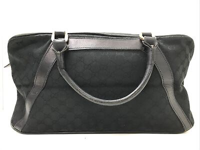 Authentic Vintage Gucci GG black canvas leather foldable duffle hand travel bag