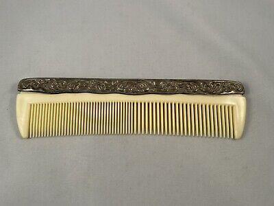 "Vintage Comb Ornate Silver Plated Ivory Color Plastic Teeth 7.5"""