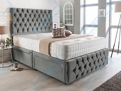 PLUSH VELVET CHESTERFIELD DIVAN BED SET + MEMORY MATTRESS 4FT6 Double 5FT King