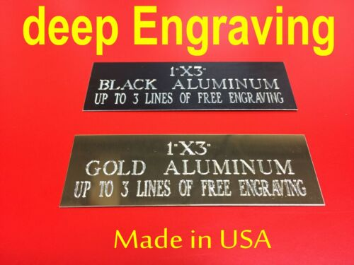 """1""""x 3"""" Name Plate Art-Trophies-Gift-Taxidermy-Flag case-Free Custom Engrave Pet"""