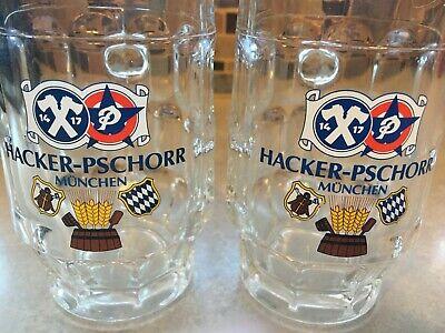 (2) Hacker-Pschorr Brau Munchen Germany 0.25L Dimpled Glass/Beer Bier Stein/Mug!