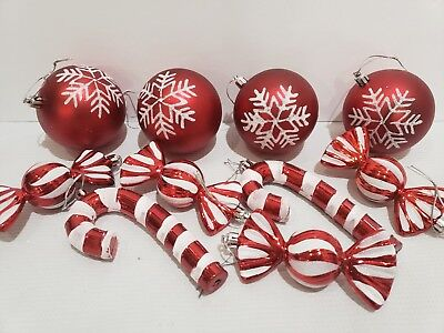d White Candy Cane Peppermint Ornaments Decor Set of 10 (Candy Cane Ornamente)