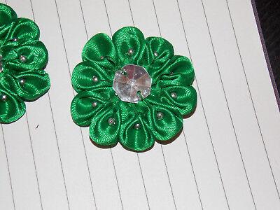 green satin jewel flower 4.5cm kids glue on Sew on Applique Motif Patch trim - Jewel Trim Satin