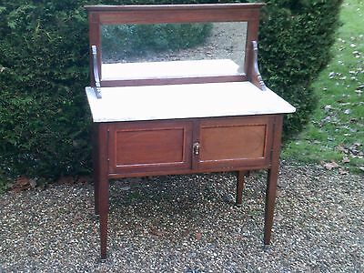 ANTIQUE EDWARDIAN MAHOGANY AND MARBLE  WASHSTAND, Antique Furniture Early 1900s