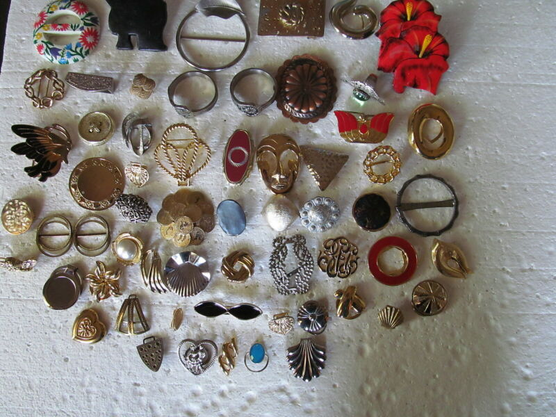 Fabulous Lot Of 60 Assorted Scarf Rings Of All Kinds Vintage & Modern - Must See