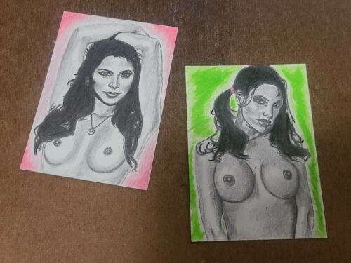 ACEO Nudes Sketch Card Drawing Original Art Mixed Media Lot Of 2 2.5x3.5in - $13.99