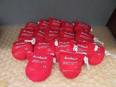 Lot Of 17 Ambu Cpr Res-cue Basic Mask 000252104 Soft Zipper Case W Clip 17741