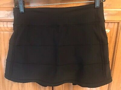 Lululemon Pace Rival Skirt II Skort Solid Black  Size 4 Tall  EUC!!