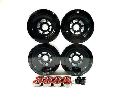 Blank Pro 83mm Longboard Black Flywheels + ABEC 7 Bearings + Spacers