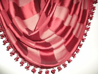 CHRIS MADDEN RED CLASSIC STRIPE WATERFALL SWAG (1) VALANCE 30 X 33 BALL FRINGE](Ball Fringe Curtains)