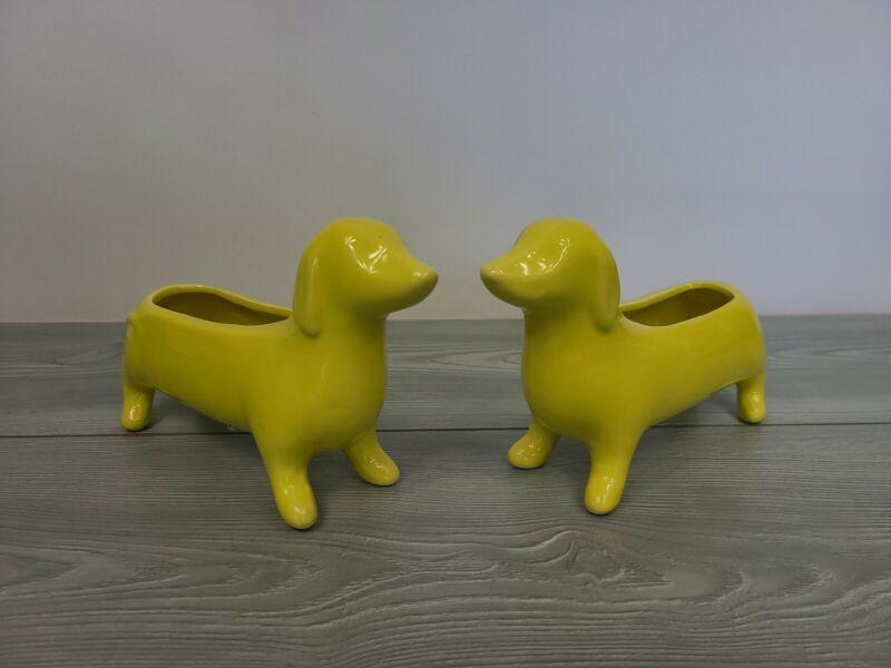 Lot Of 2 Yellow Ceramic Dachshund Sausage Dog Figurine Planter Trinket Dish...