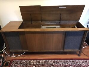 Vintage stereo cabinet with turntable