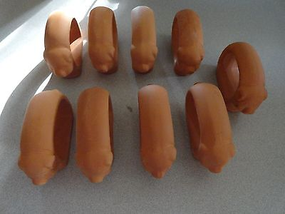 SO CUTE!!  Set of 9 Vintage Pig Terra Cotta Napkin Rings in Good Condition