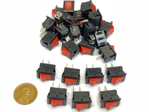25 Pieces RED small rocker switch 15mm x 10mm 2pin on/off spst 6a 15x10mm E30