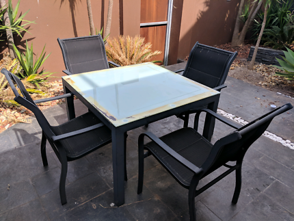 Outdoor Patio Glass Table and Chair Set (5 Piece) Garden