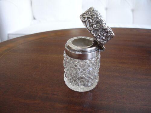 Antique cut crystal dresser jar with sterling top