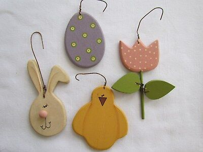 Welcome Spring Ornaments Bunny Chick Egg Tulip 5pc RO-232 NEW Collins Easter - Bunny Ornaments