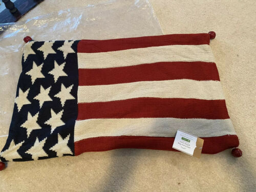 Pottery Barn Flag Embroidered Pillow Cover 18x18 Red White Blue Stars /& Stripes