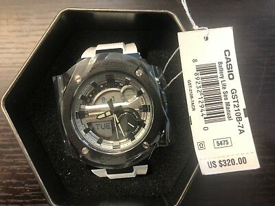 BRAND NEW IN BOX W/TAGS CASIO G SHOCK WATCH GST210B-7A WHITE BLACK WATCH