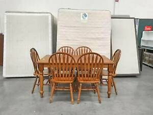 TODAY DELIVERY 7 pcs SOLID WOODEN dining table & chairs