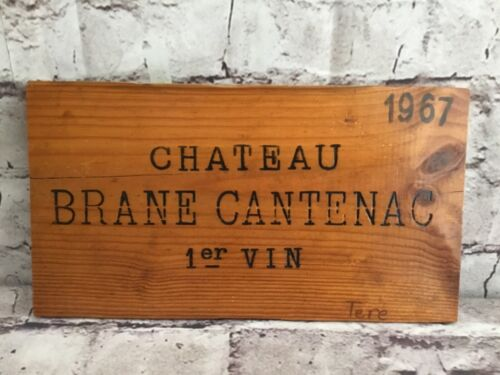 Vintage Wine Wood Sign Engraved Chateau Brane Cantenac 1er 1967 Collectible