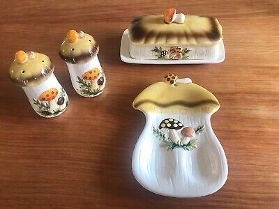 Rare Merry Mushroom Butter Dish, Salt & Pepper Shakers Spoon Rest Vintage Sears