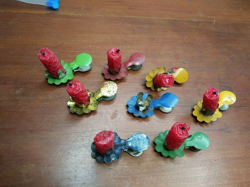 LOT OF 8 ANTIQUE VICTORIAN TIN CHRISTMAS TREE BRANCH CLIP CANDLE REFLECTOR