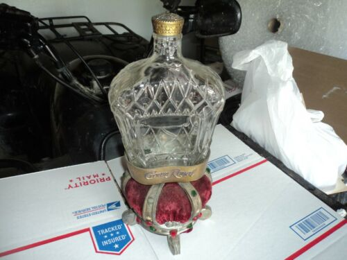 Vintage Crown Royal Whiskey Bottle With Velvet Crown Pillow Stand Store Display