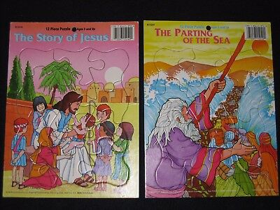 Bible Story 12 Piece Puzzles The Story of Jesus & The Parting of the Sea Set Lot