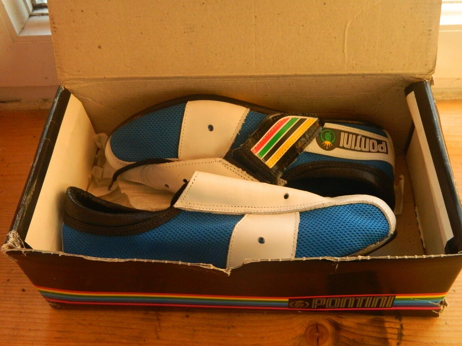 NOS Vintage Pontini Astral leather cycling road bike shoes 42EU 8.5US 7.5UK rare