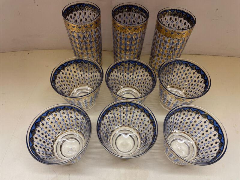 Set of 9 Vintage MCM Culver Blue Gold Azure Highball Glasses Scroll 22K