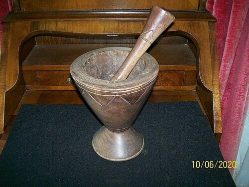 Vintage Wooden Mortar & Pestle Set