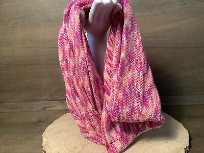 Women's Infinity Knit SCARF PINKS AND CREAM SHOULDER SCARF ALSO, TWISTED