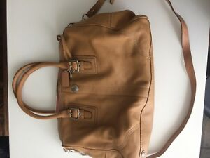 Authentic tan leather coach tote