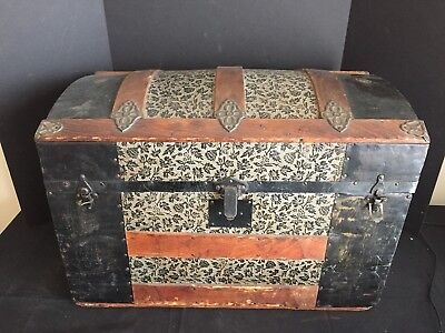 antique dome top trunk metal covered travel trunk
