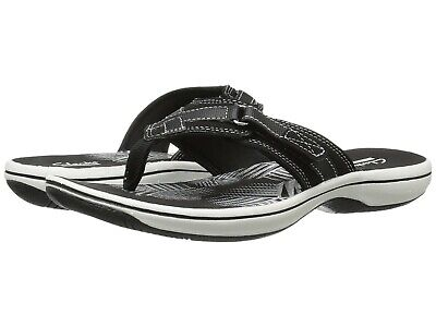 Clarks BREEZE SEA Womens Black Synthetic 25505 Thong Sandals
