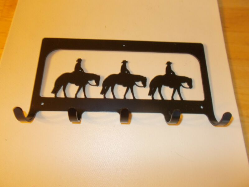 BLACK ZINC COLORED THREE WESTERN HORSES AND RIDERS KEY HOLDERS