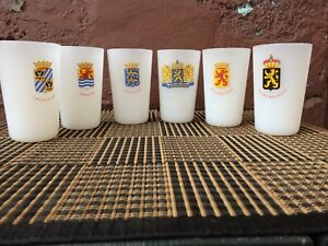 6 MILK GLASS Glasses | COAT OF ARMS - Kingdom of the Netherlands