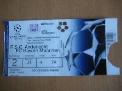 Ticket: Anderlecht - Bayern Munich UEFA CL (30-9-03)