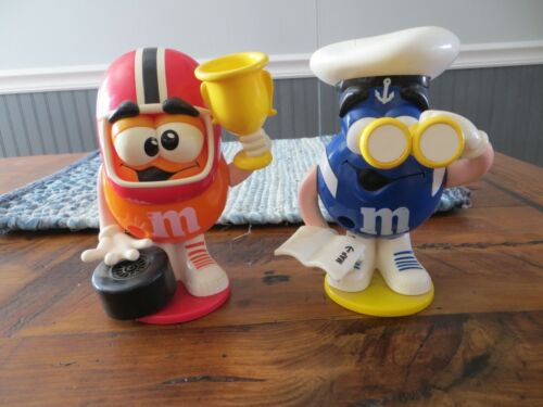 2 EUROPEAN M&M MINI CANDY DISPENSER FOOTBALL PLAYER  W/ TROPHY & SAILOR W/ MAP
