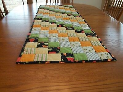 "New Handcrafted and Hand Quilted Table Runner, 17 1/2"" x 51 1/2"", Kitchen Prints"