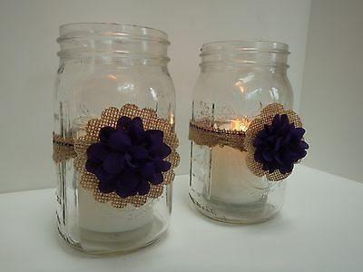 10 Rustic Burlap Plum Mason Jar Candle Centerpiece Wedding Decorations M13 (Burlap Centerpieces)