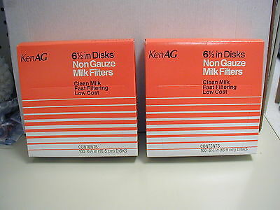 Milk Filterstrainers - For 6.5 Inch Strainer Disc 2 Boxes Of 100 New Kenag
