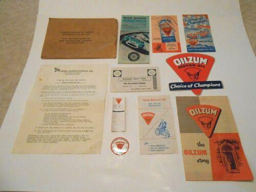 Vintage Oilzum Dealer Sample Packet Promotional Literature Decals Pamphlets