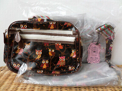 x2 Bags Ladies/Childs School Canvas & Oilcloth Owl Print By Miss Lulu - New