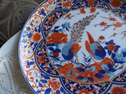 Vintage Gold Imari style Japanese Porcelain  Peacock Peasant  Orange Blue Plate