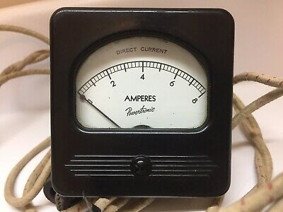 Vintage Powertronic 0 To 8 Amperes Amp Meter W Cables