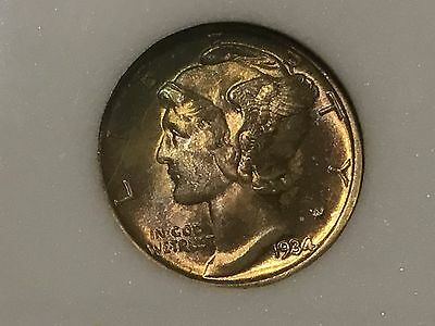 Click now to see the BUY IT NOW Price! 1934 D MERCURY DIME RAINBOW TONING HIGH GRADE  BELOW WHOLESALE