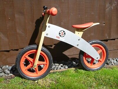 Little Bikloon Wooden Balance Bike Red and Silver